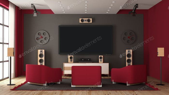 Modern home cinema with flat tv and audio equipment