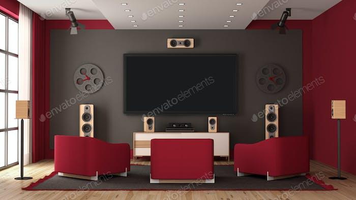 Modernes Heimkino mit Flachbildfernseher und Audio geräten