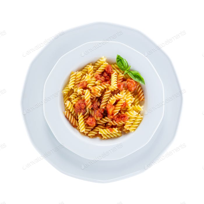 Pasta with vegetables over white, with path