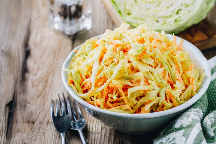 Coleslaw salad with white cabbage, carrots and mayonnaise dressing