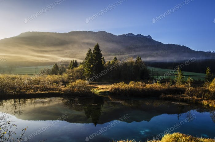 Zelenci springs on a foggy morning
