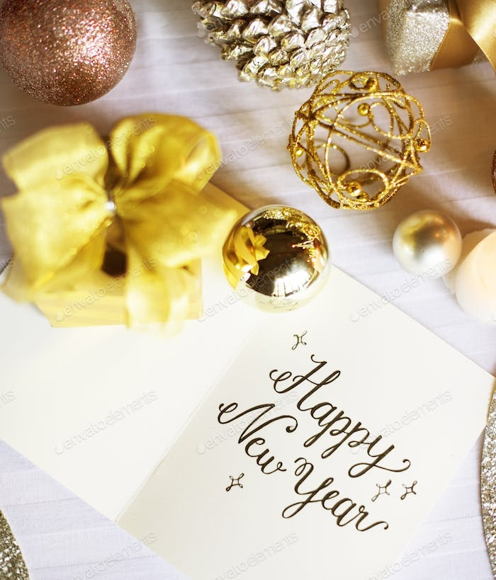 Happy New Year Celebration Greeting Card Relaxation Concept