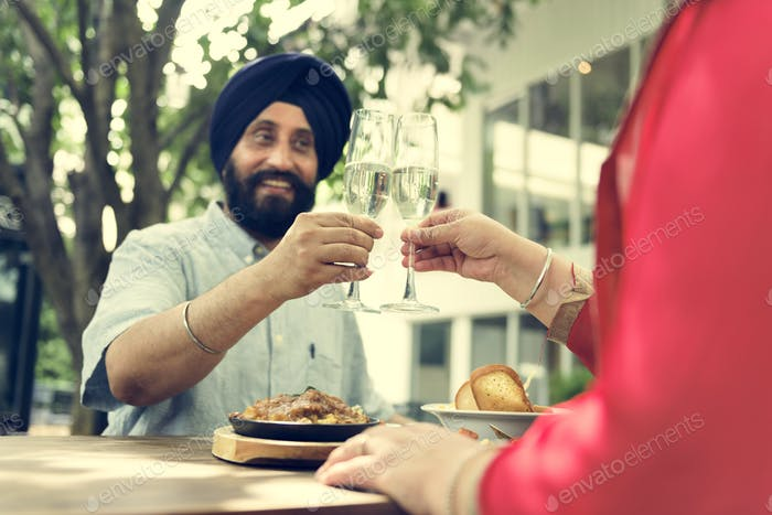 Indian Couple Dining Together Concept