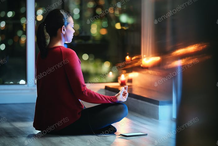 Latin American Woman Doing Yoga At Night