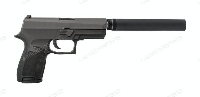 handgun with silencer isolated on white