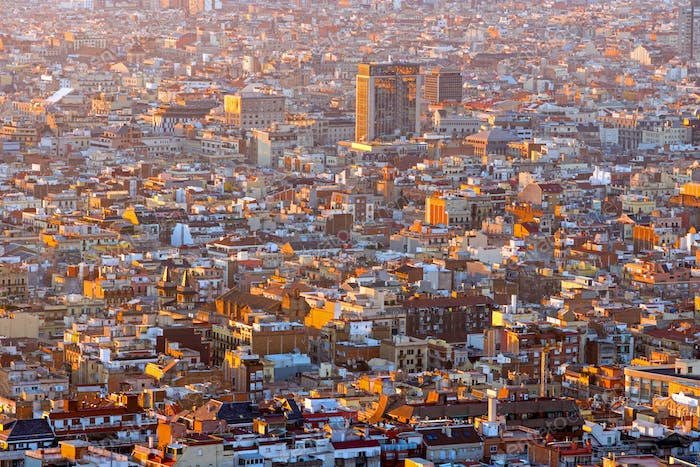View over Barcelona at sunrise