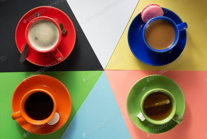 cup of coffee, cacao and tea at  colorful background