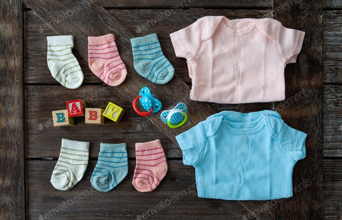 Baby clothing in pink and blue