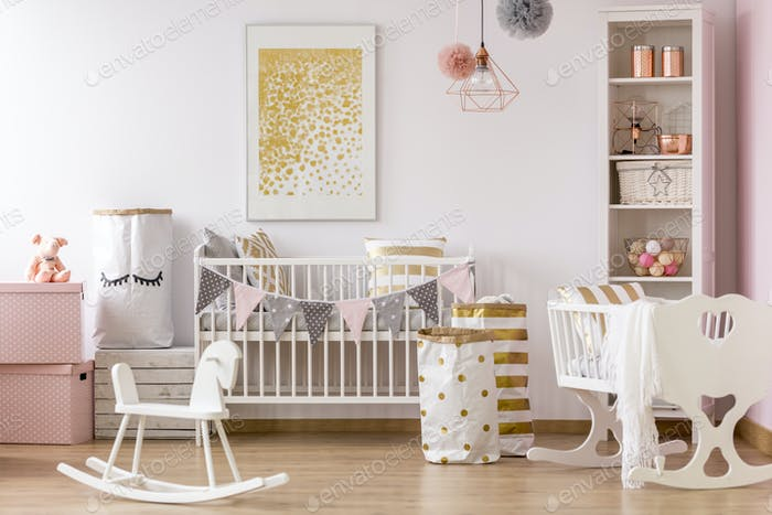 Crib nook with golden dots poster