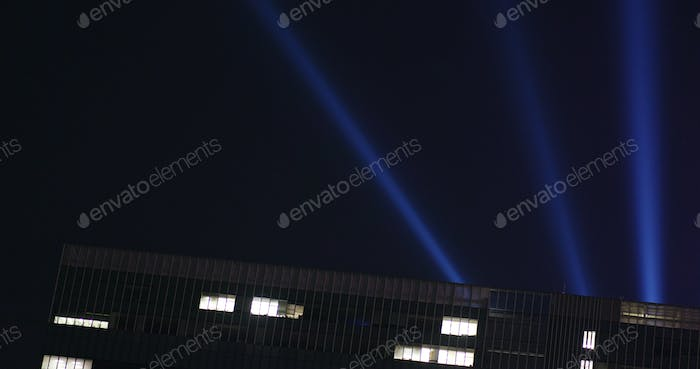 Light laser performance on the roof top building