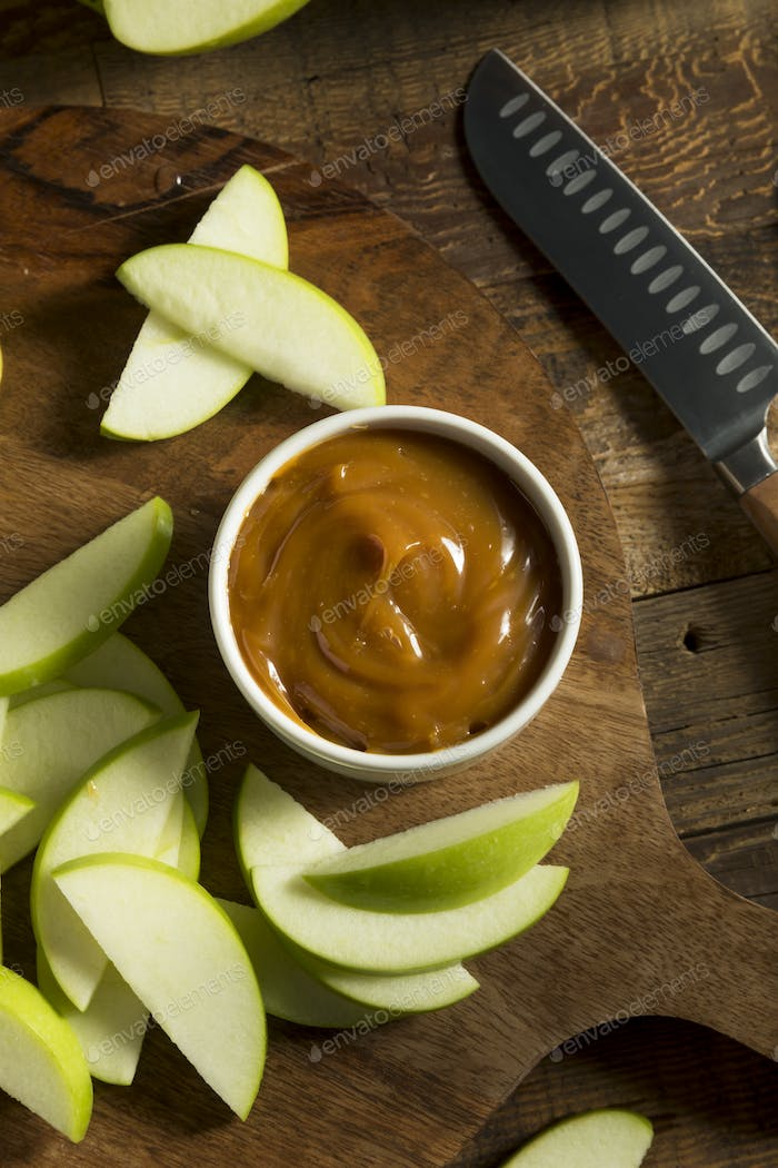 Sweet Homemade Caramel Dip with Sliced Apples