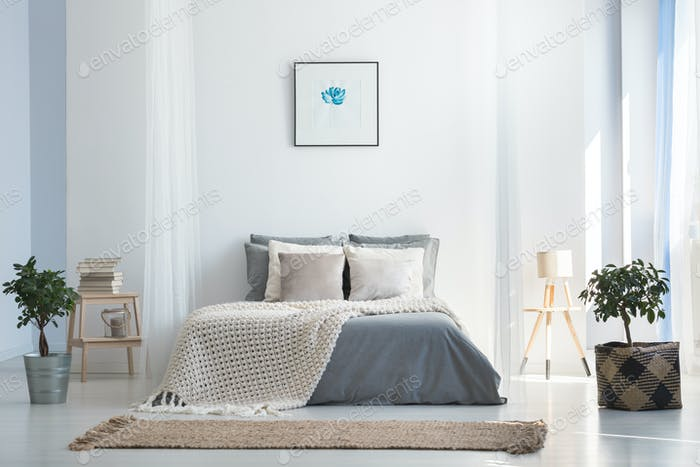 Soft gray and blue bedroom