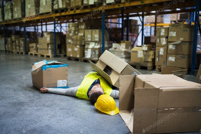 Warehouse worker after an accident in a warehouse.
