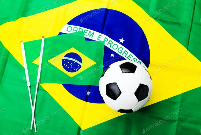 Brazil flag and soccer ball