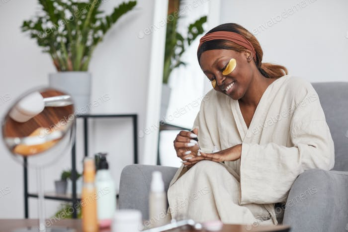 Smiling Young Woman Enjoying Self Care Day