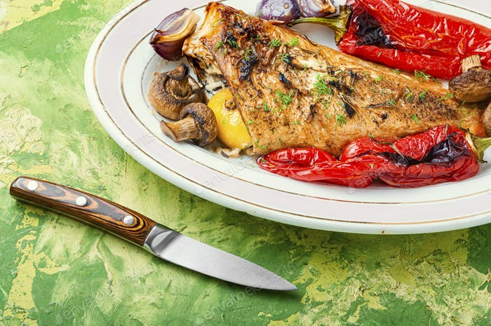 Roasted red perch and vegetables