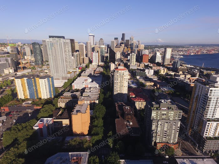 Aerial View Over Seattle Inter Urban Downtown City Skyline Build