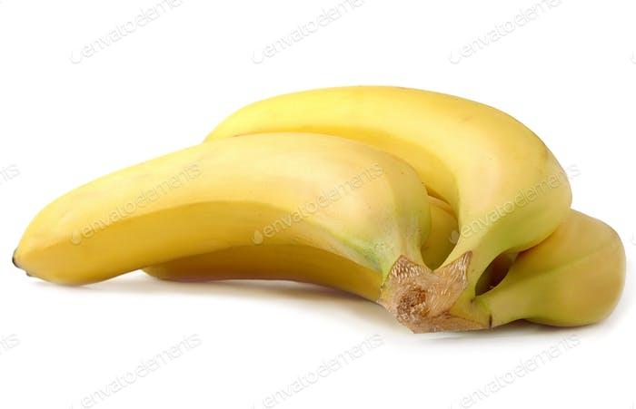 bright yellow bananas on white background
