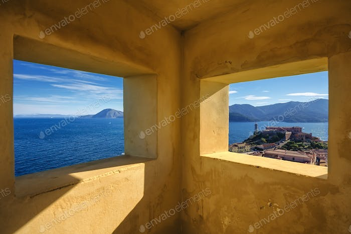 Elba island, Portoferraio aerial view from old windows. Lighthou