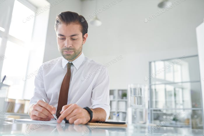 Young confident lawyer making working notes on paper