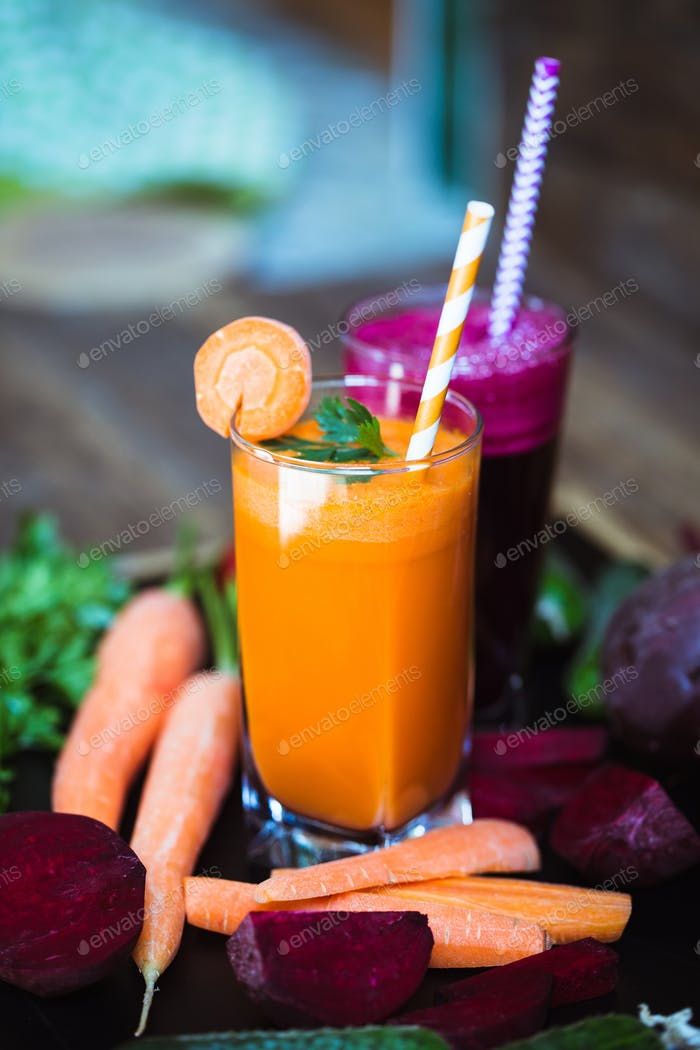 Freshly Made Vegetable Juices, Carrot, Beet. Vegetarian food. Healthy life.