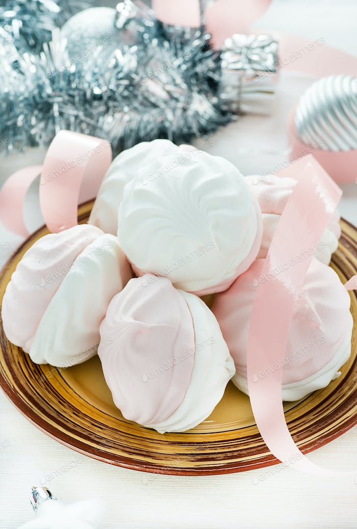 Sweet marshmallows with festive decoration