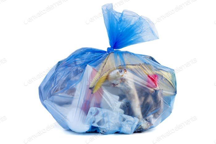 Big blue plastic garbage bag