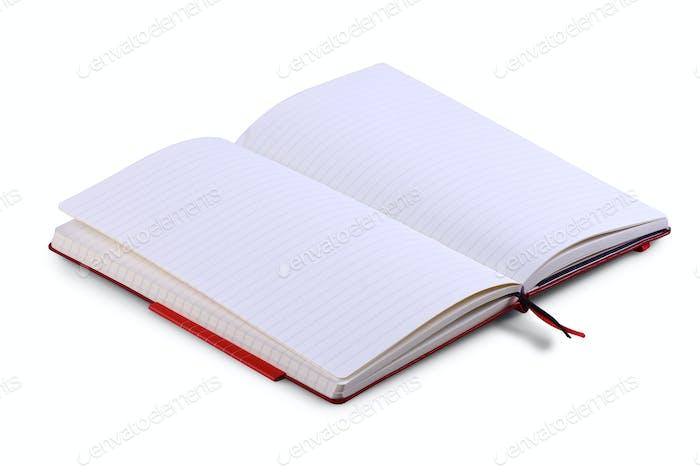 Geöffnete Notizbuchseiten isoliert