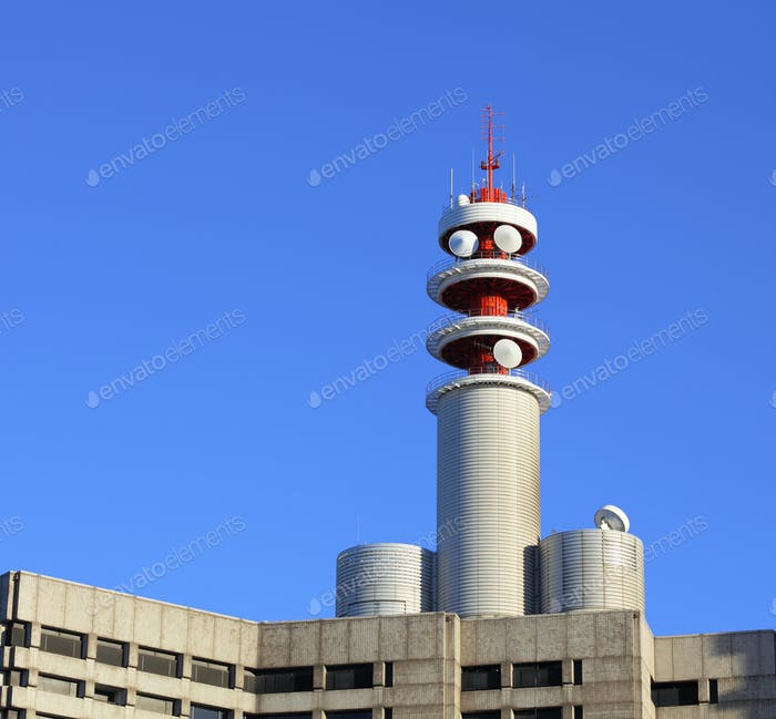 Broadcast tower on building