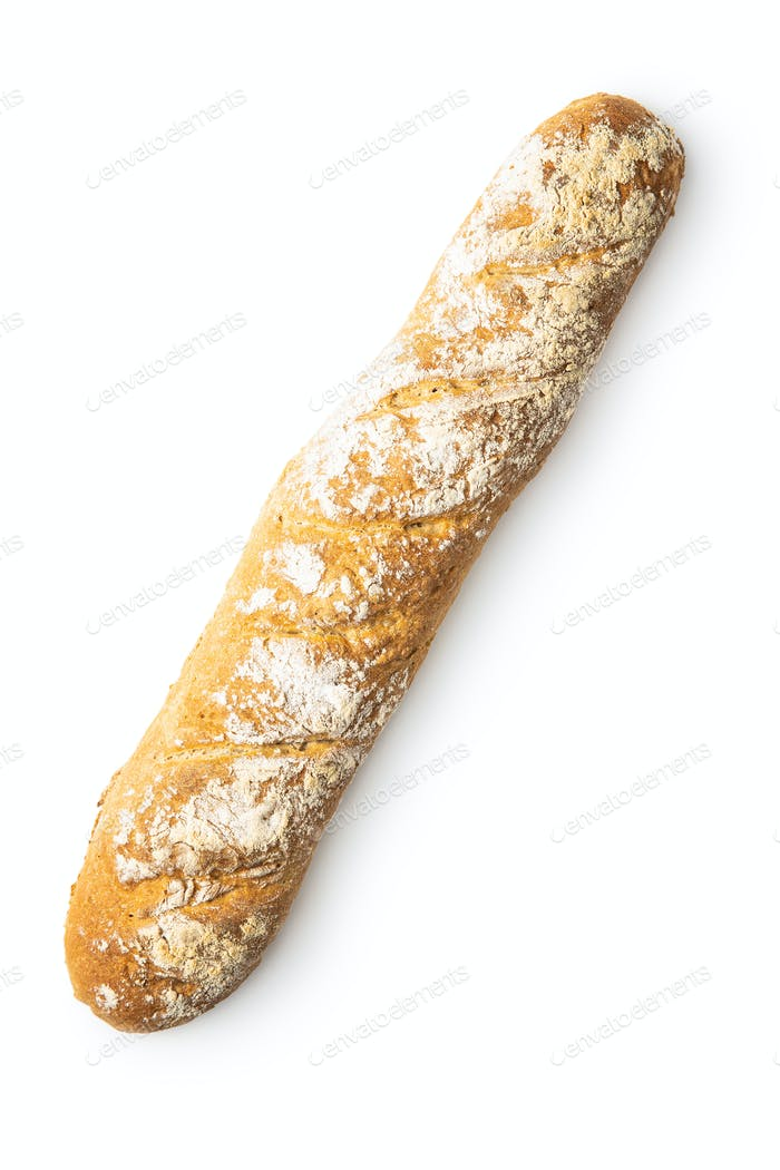 Fresh whole grain bread baguette.