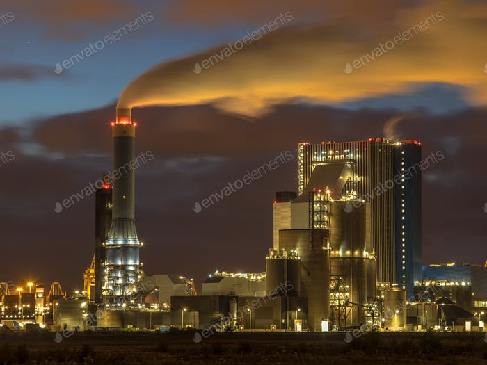 Coal powered power plant at night in Port of Rotterdam