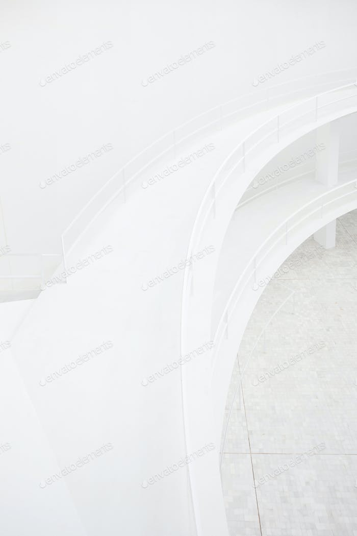 Double elevated walkway, white minimal modern architecture detail