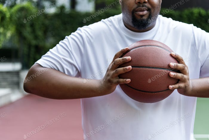 Man on a basketball court