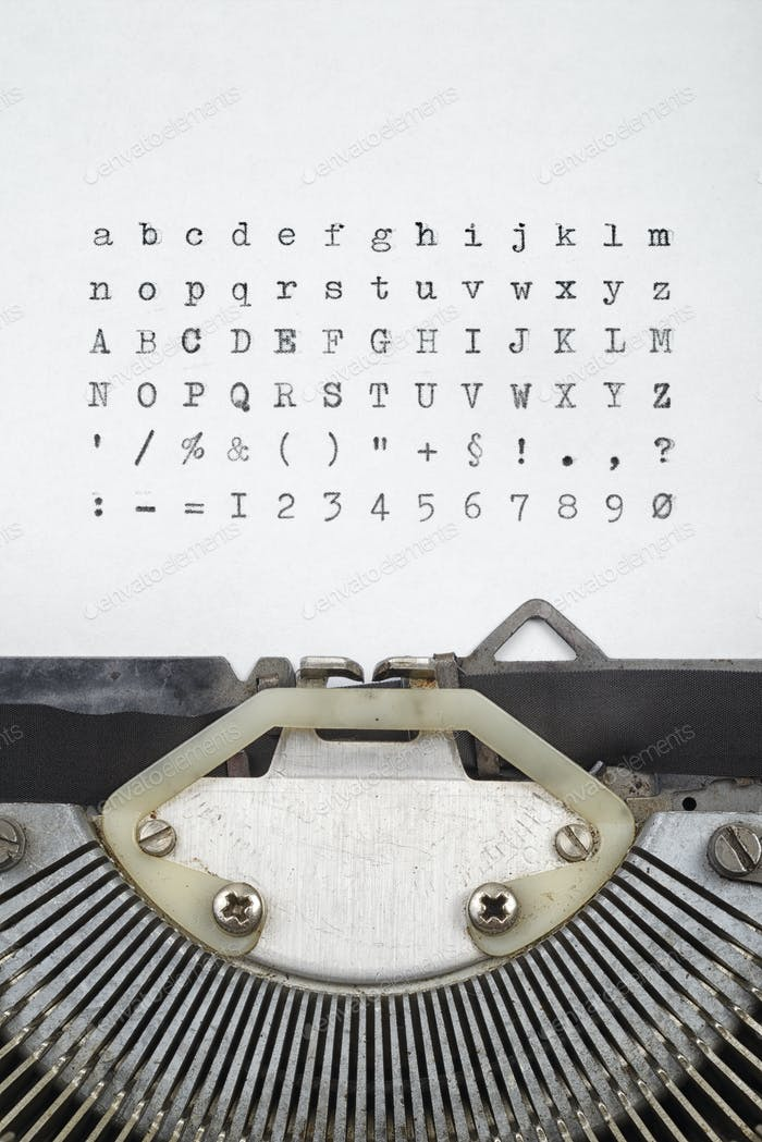 Old typewriter letters font set