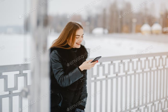 Girl in a winter park