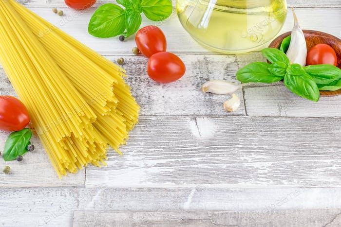 Italian spaghetti pasta and fresh ingredients