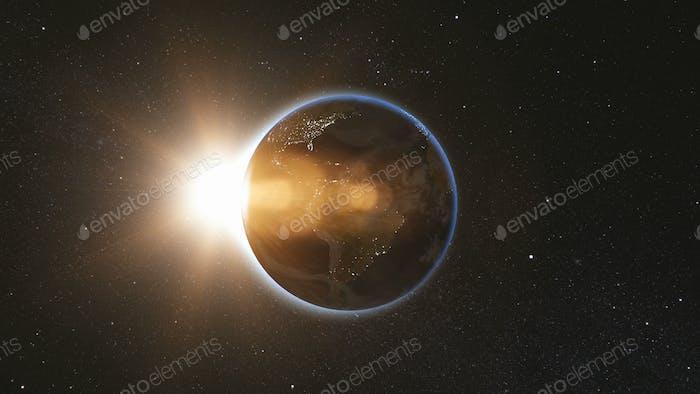 Vista espacial sobre el planeta Tierra y el sol en el universo