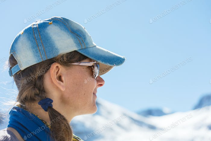 Girl in winter mountains