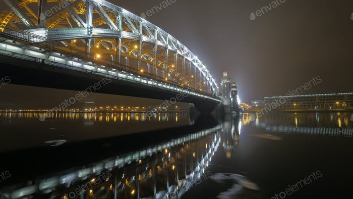 Peter the Great Bridge in St. Petersburg at night
