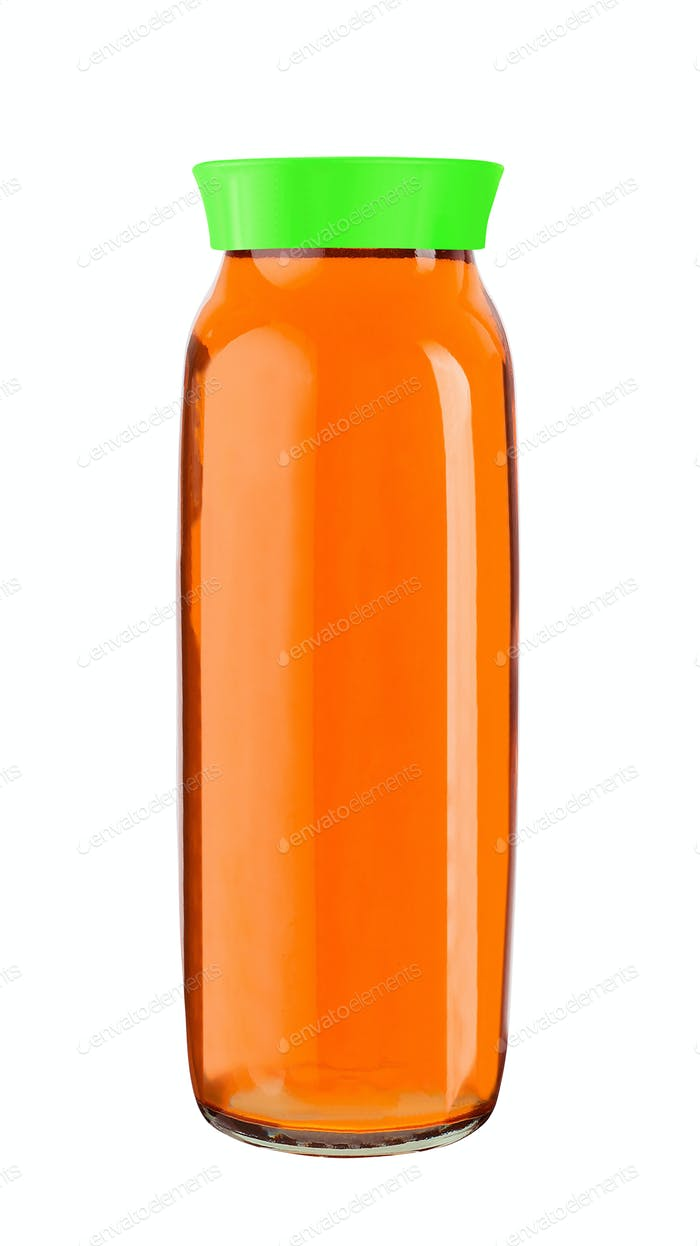 Juice bottle glass isolated on white