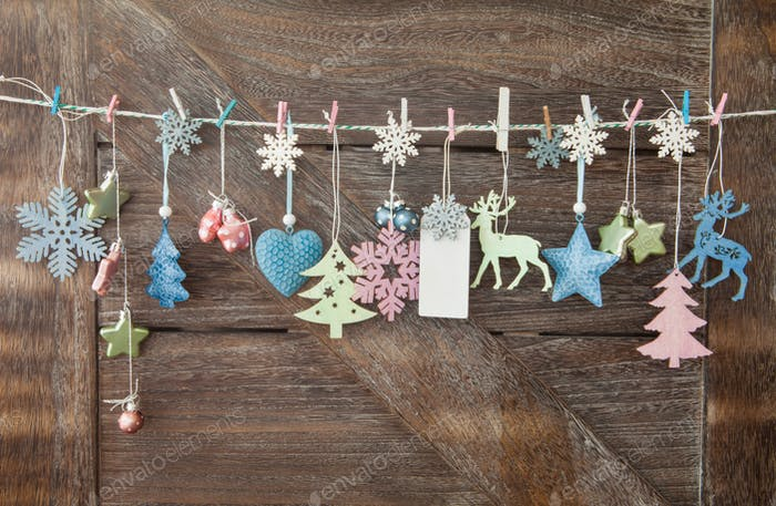 Christmas decorations on wooden background