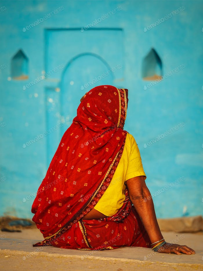 Unidentified Indian rural woman in traditional sari