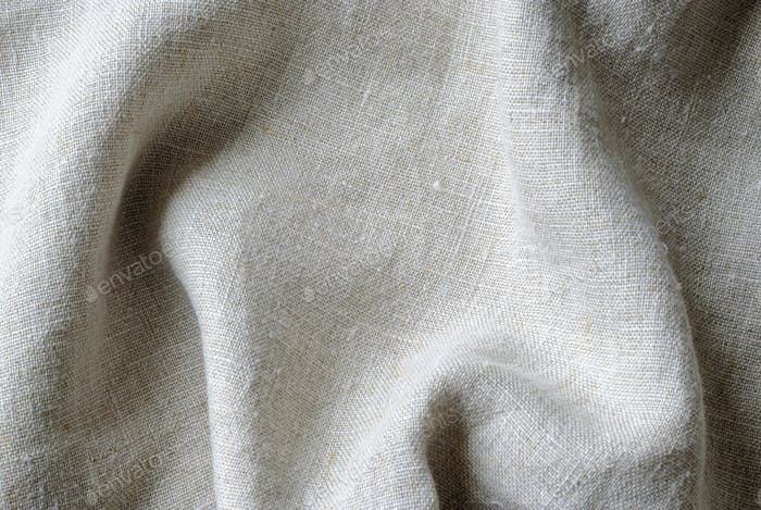 Gathered folded soft woven linen fabric