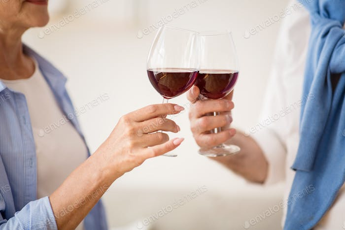 Mature couple clinking glasses with red wine at home