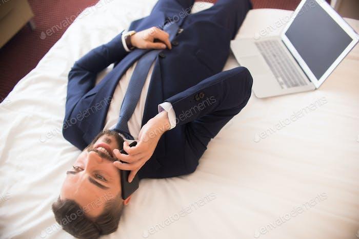 Businessman Enjoying Hotel Stay