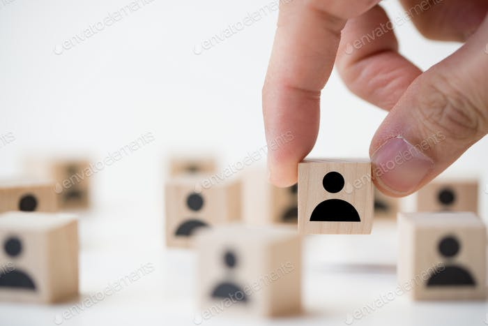 Job recruitment concept using icon people wood cube block