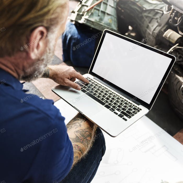 Garage Automotive Tuning Adjustment Laptop Concept