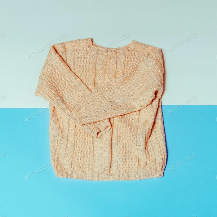 Knitted sweater. Minimal fashion style