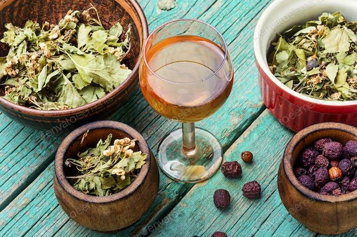 Dried hawthorn in herbal medicine.