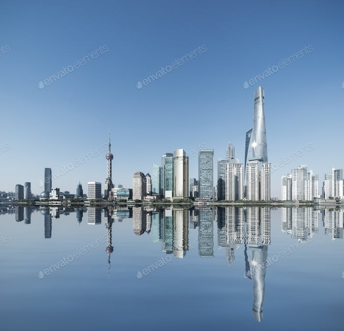 shanghai skyline and reflection
